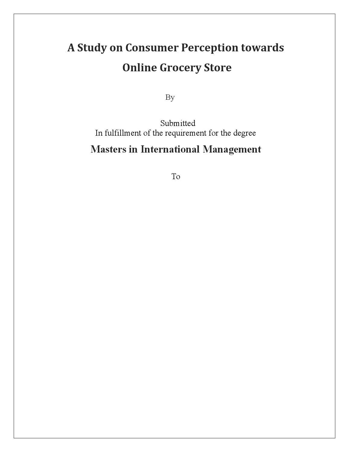 A study on consumer perception towards online grocery store