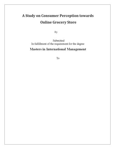 A study on consumer perception towards online grocery store by