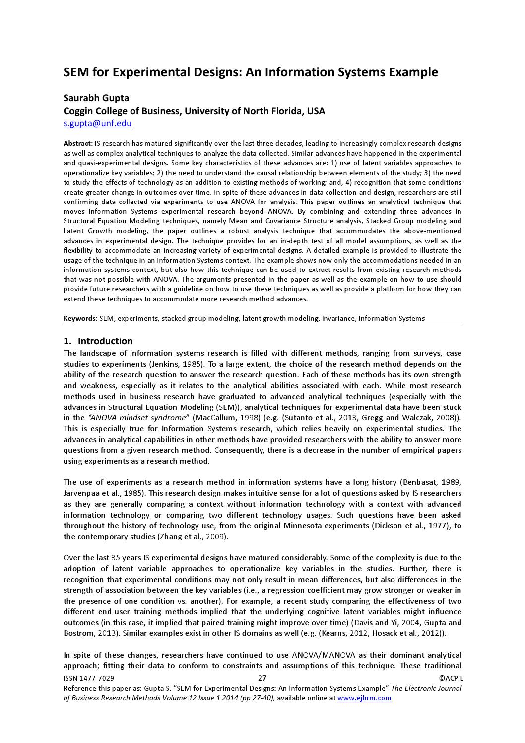 SEM for Experimental Designs: An Information Systems Example