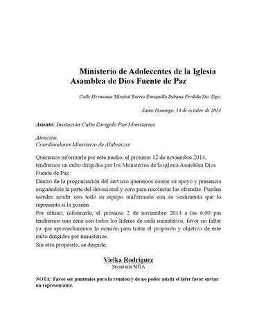 Carta De Invitacion Mda Lideres Alabanzas By Daniel Luciano
