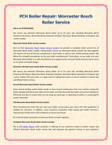 PCH Boiler Repair: Worcester Bosch Boiler Service by
