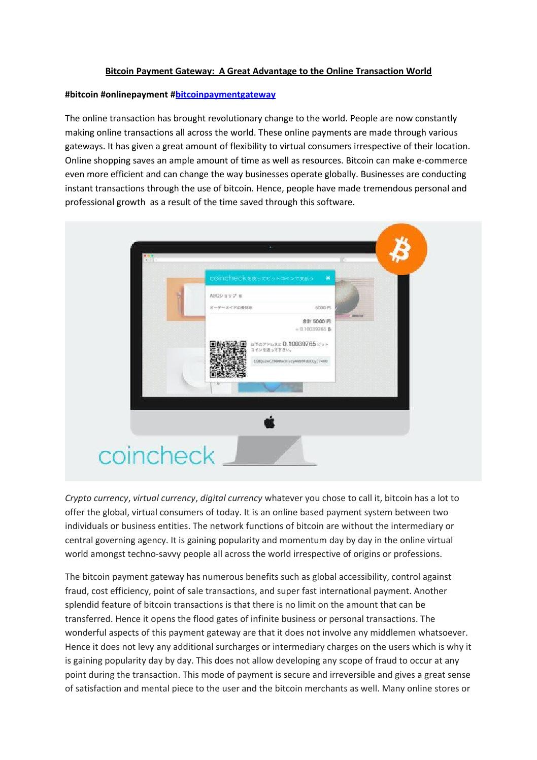 Bitcoin Payment Gateway - Online Transaction World by ...