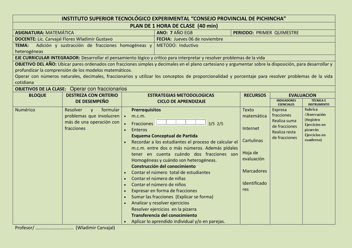 Plan de clase suma resta de fracciones by Wladimir Carvajal - issuu