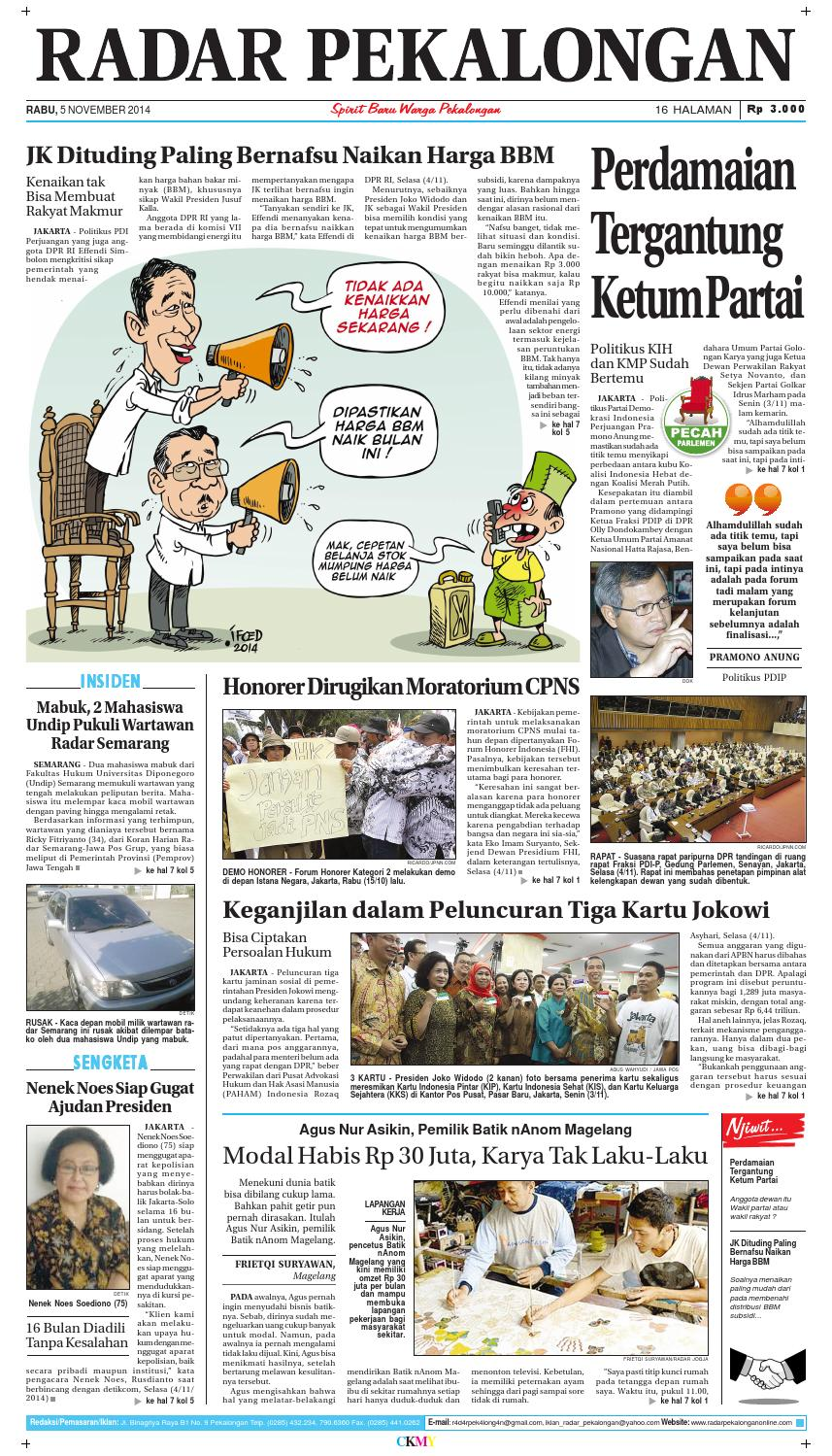 Radar Pekalongan 5 November 2014 By Issuu Produk Ukm Bumn Sepatu Batik Chanting Katun