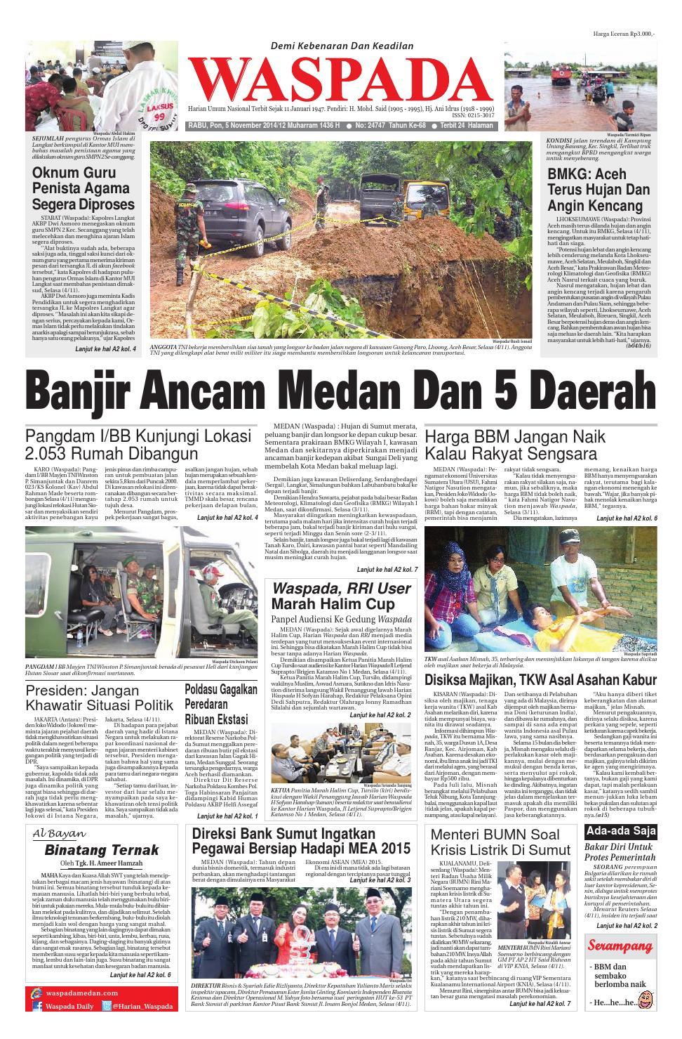 Waspada Rabu 5 November 2014 By Harian Issuu Produk Ukm Bumn Tenun Pagatan Kemeja Pria Biru Kapal
