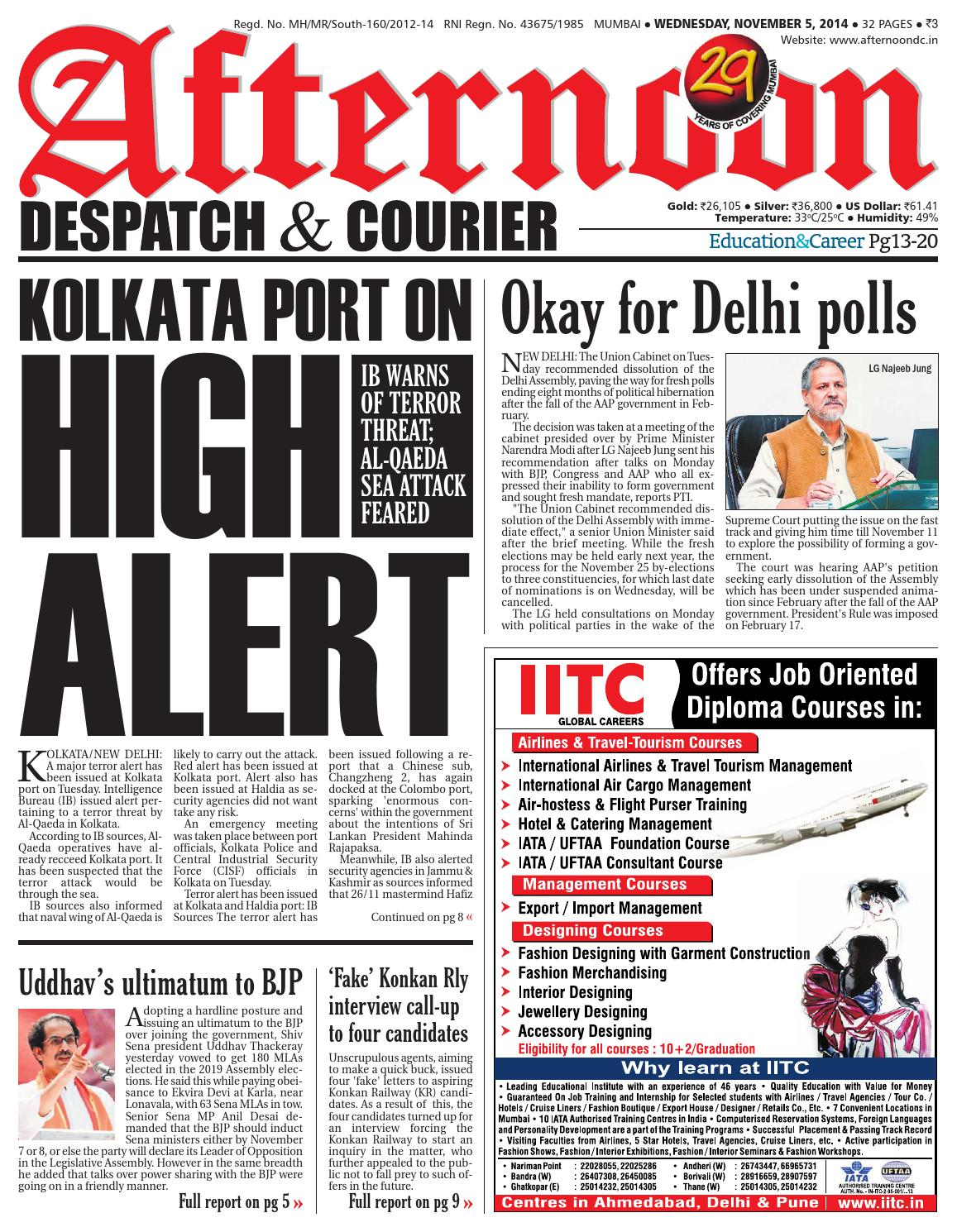 05 nov 2014 by Afternoon Despatch & Courier - issuu
