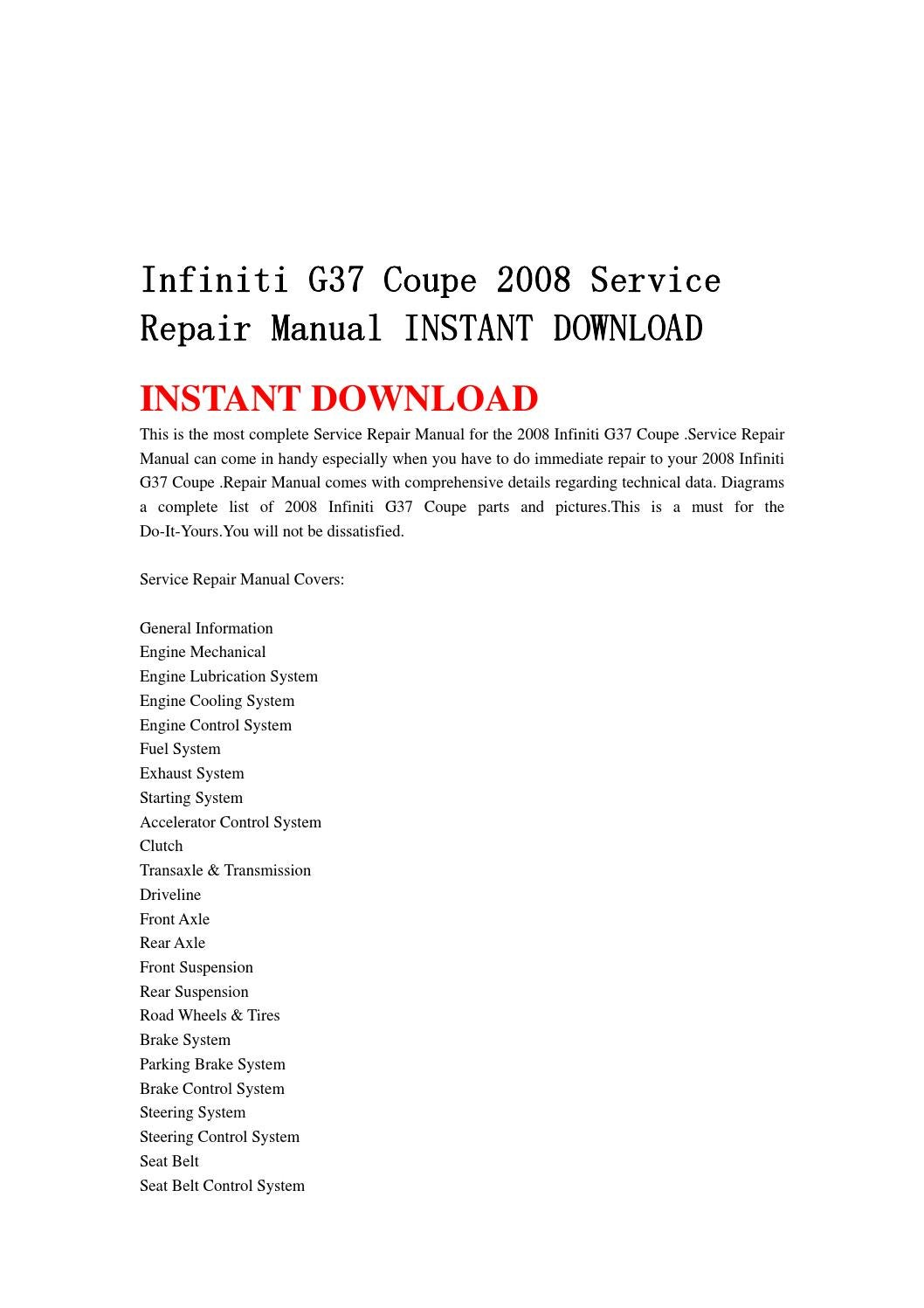 infiniti g37 coupe 2008 service repair manual instant. Black Bedroom Furniture Sets. Home Design Ideas
