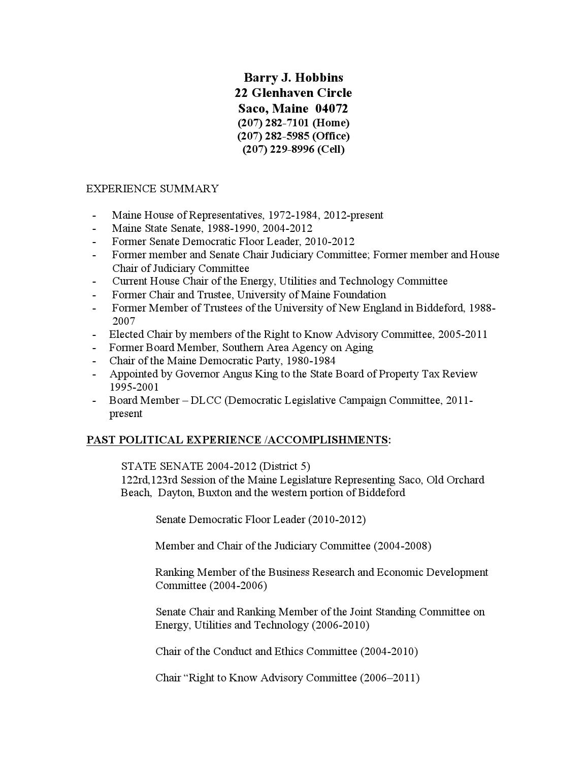 resume barry hobbins by public affairs info