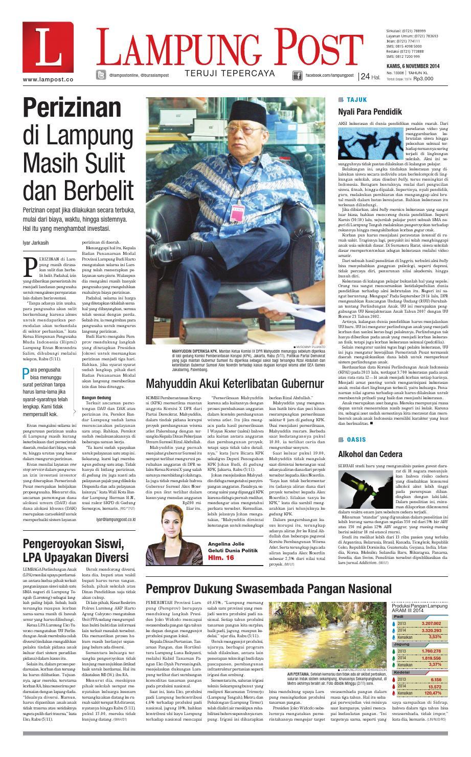 Lampung Post Kamis 6 November 2014 By Issuu Produk Ukm Bumn Sulam Usus Pmk