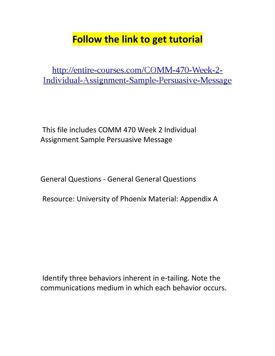 COMM 470 Week 2 Individual Assignment Sample Persuasive Message
