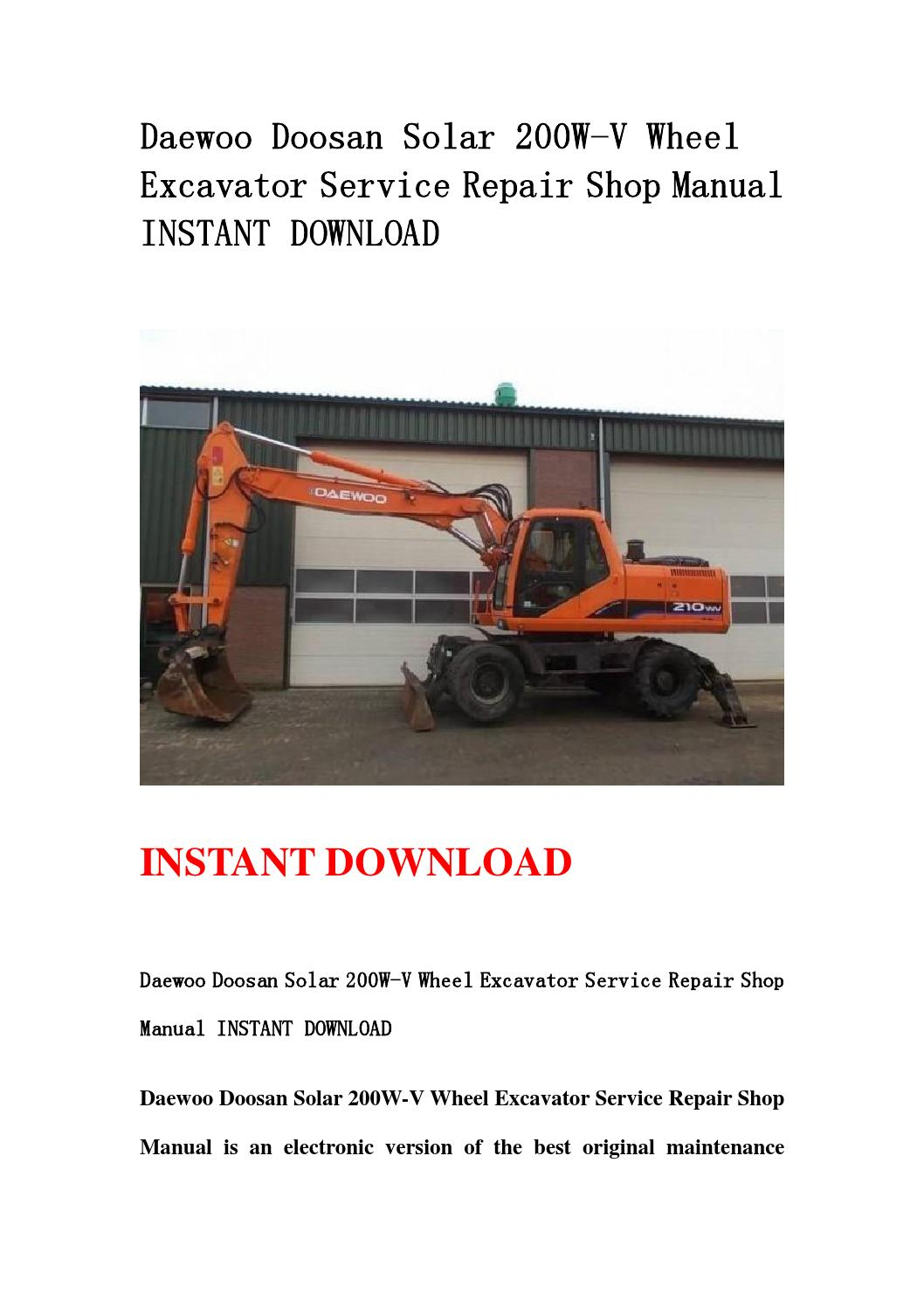 Daewoo doosan solar 200w v wheel excavator service repair shop manual  instant download by kmsjefnef sefjnsehf - issuu