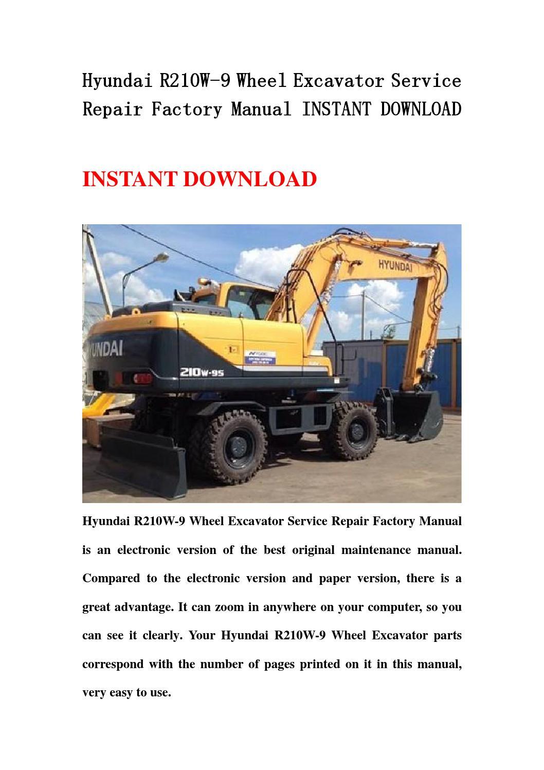 Hyundai R210w 9 Wheel Excavator Service Repair Factory