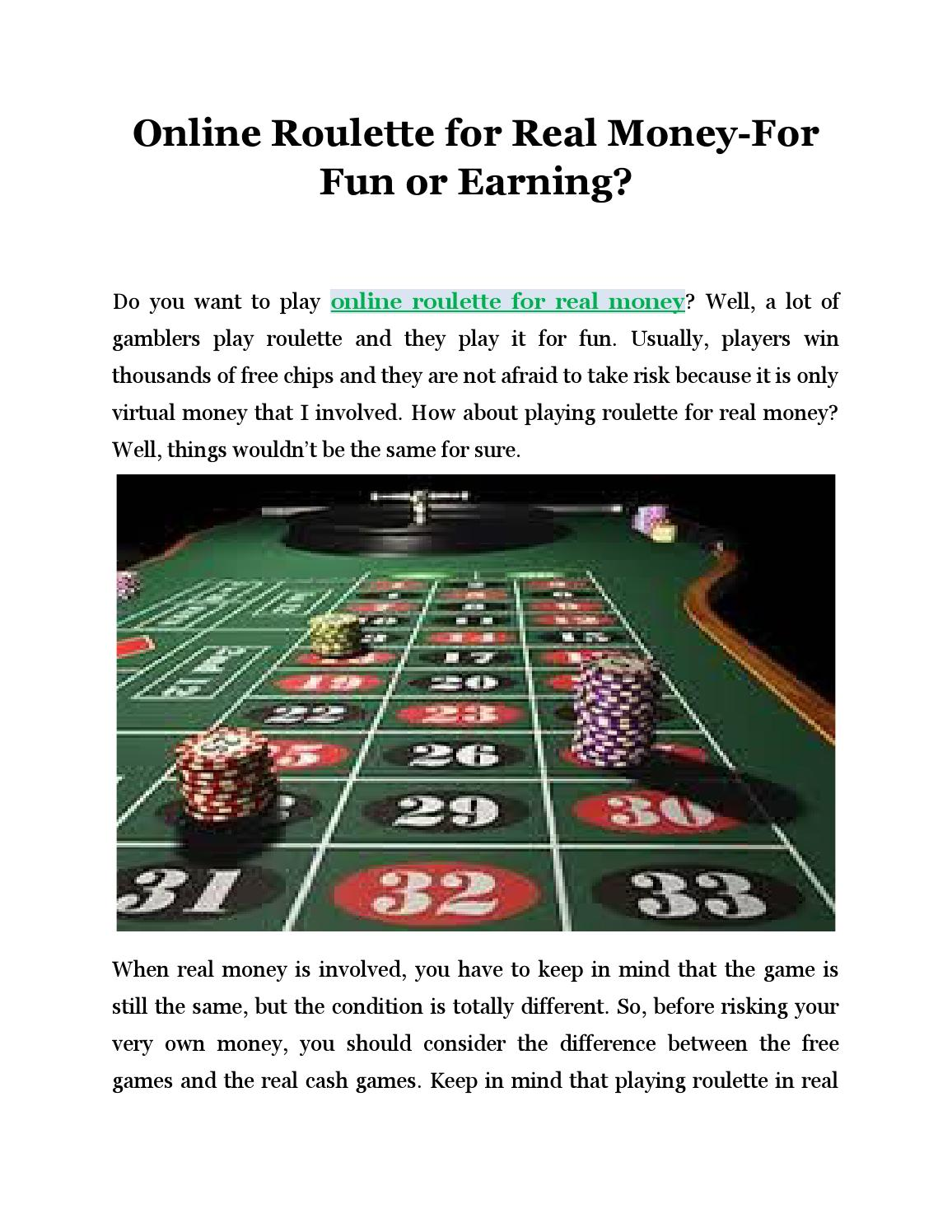 Play roulette for real money
