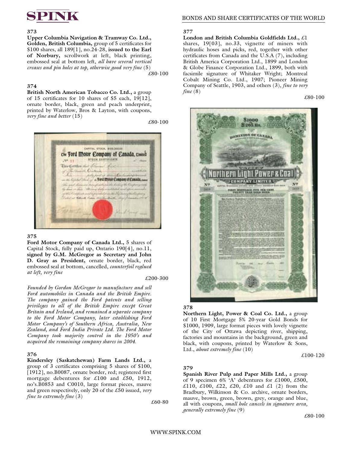 Bonds and Share Certificates of the World - 14017 by Spink