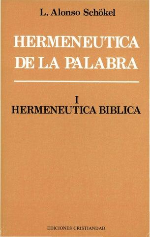 Alonso schokel l hermeneutica de la palabra i hermenutica biblica l alonso schkel 1 hermeneutica biblica urtaz Images