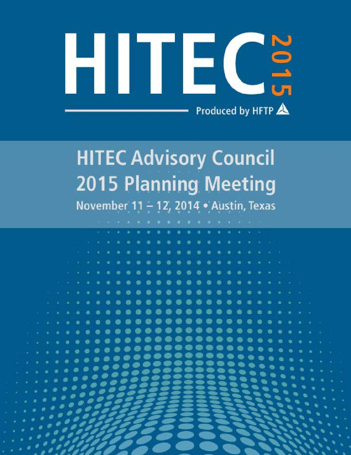 HITEC 2015 Advisory Council Planning Packet by HFTP - issuu