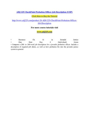 Adj 225 Checkpoint Probation Officer Job Description (uop)