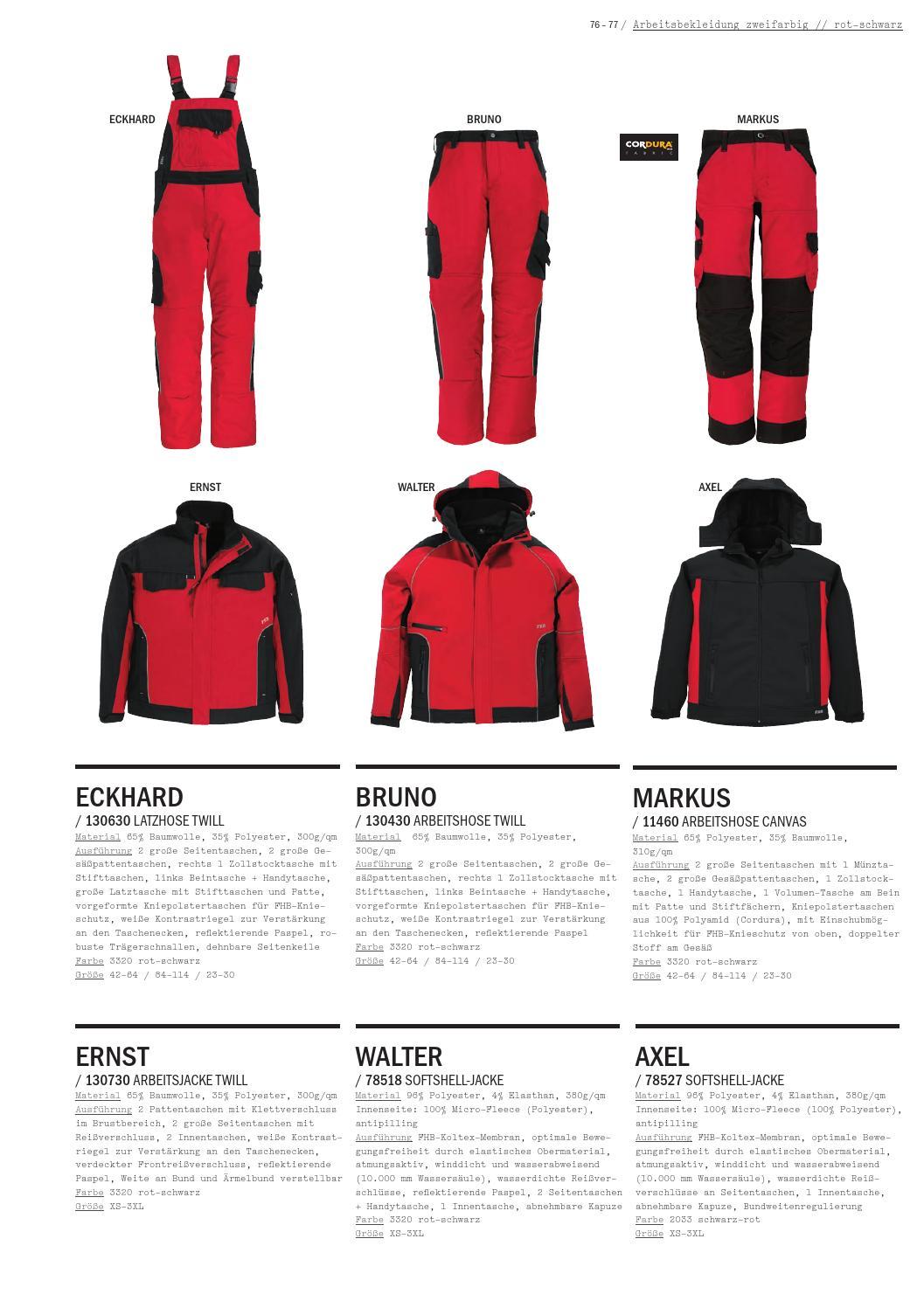 FHB Arbeitshose Canvas  MARKUS  11460 3320-rot-schwarz
