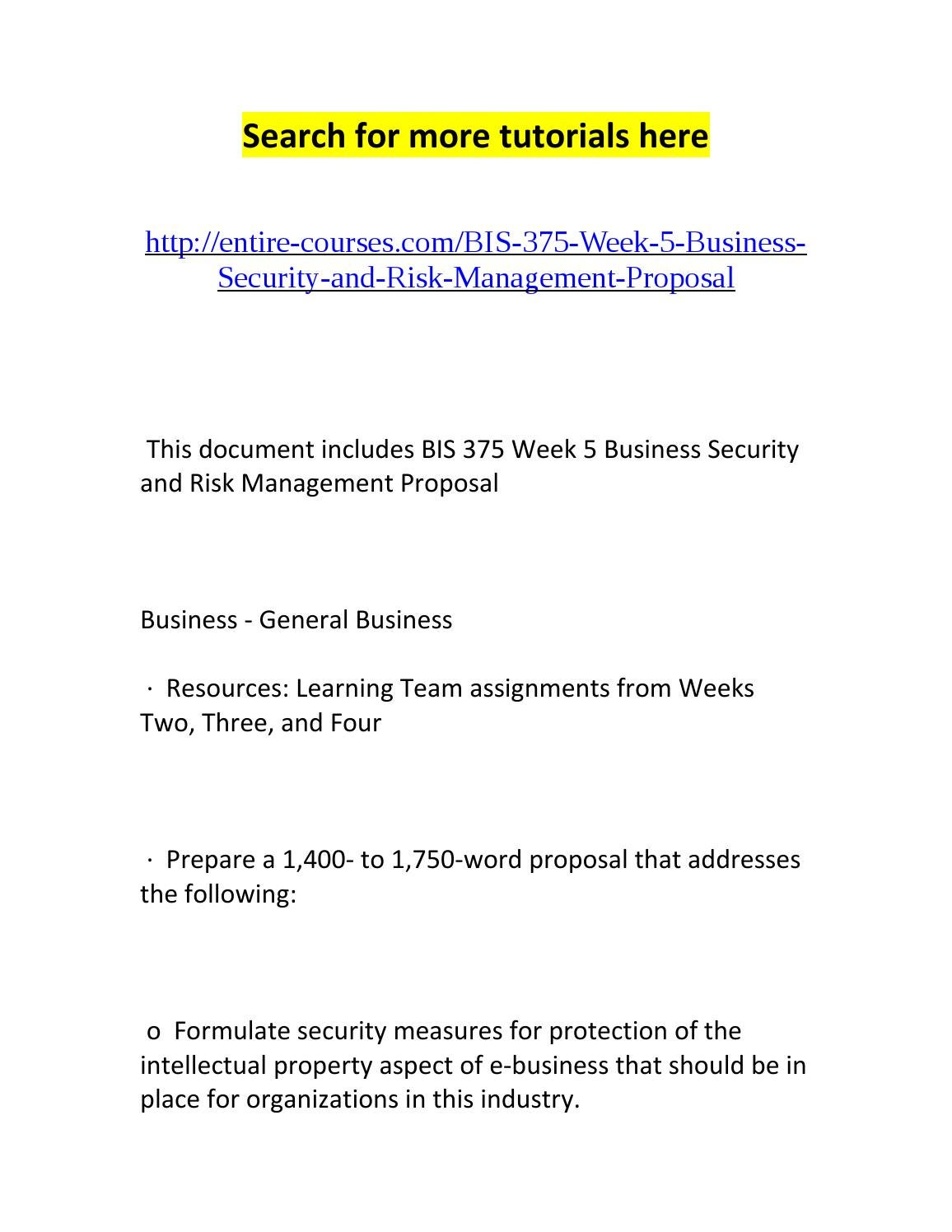 bis 375 week 5 business security Bis 375 week 5 lt e-business security and risk management proposal presentationpptx bis 375 week 5 lt e-business security and risk management proposal bis 375 week 5 summary.