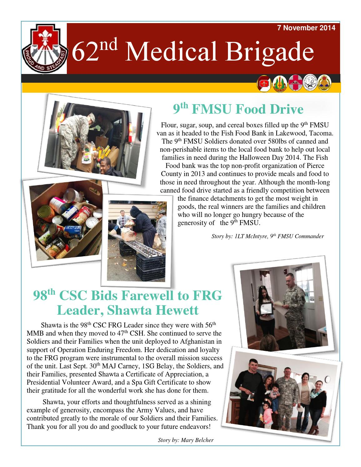 62nd med bde newsletter by m belcher issuu for Fish food bank tacoma