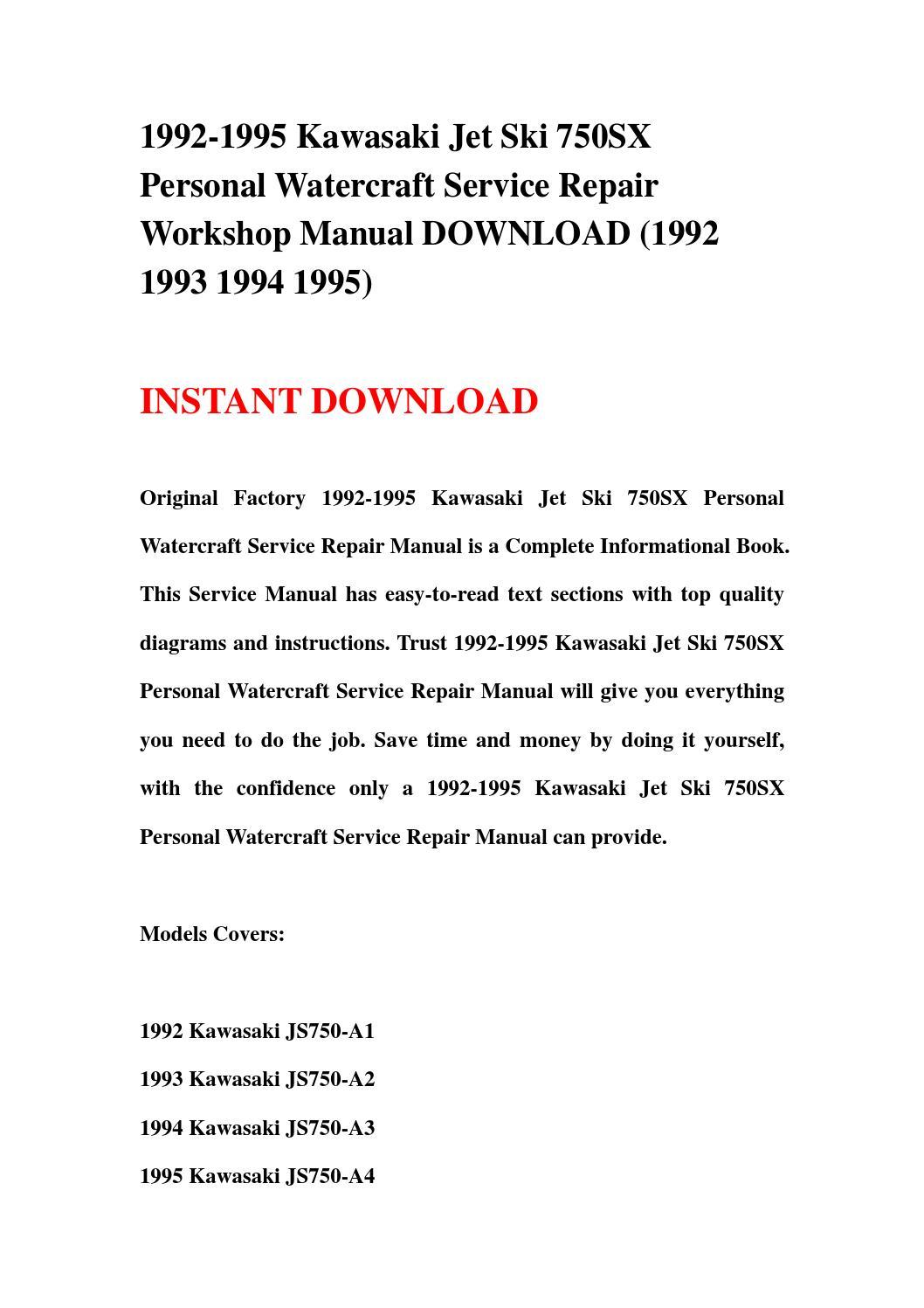 1992 1995 Kawasaki Jet Ski 750sx Personal Watercraft Service Repair Wiring Diagram On Workshop Manual Download 1 By Jsefmn Mkjn Issuu