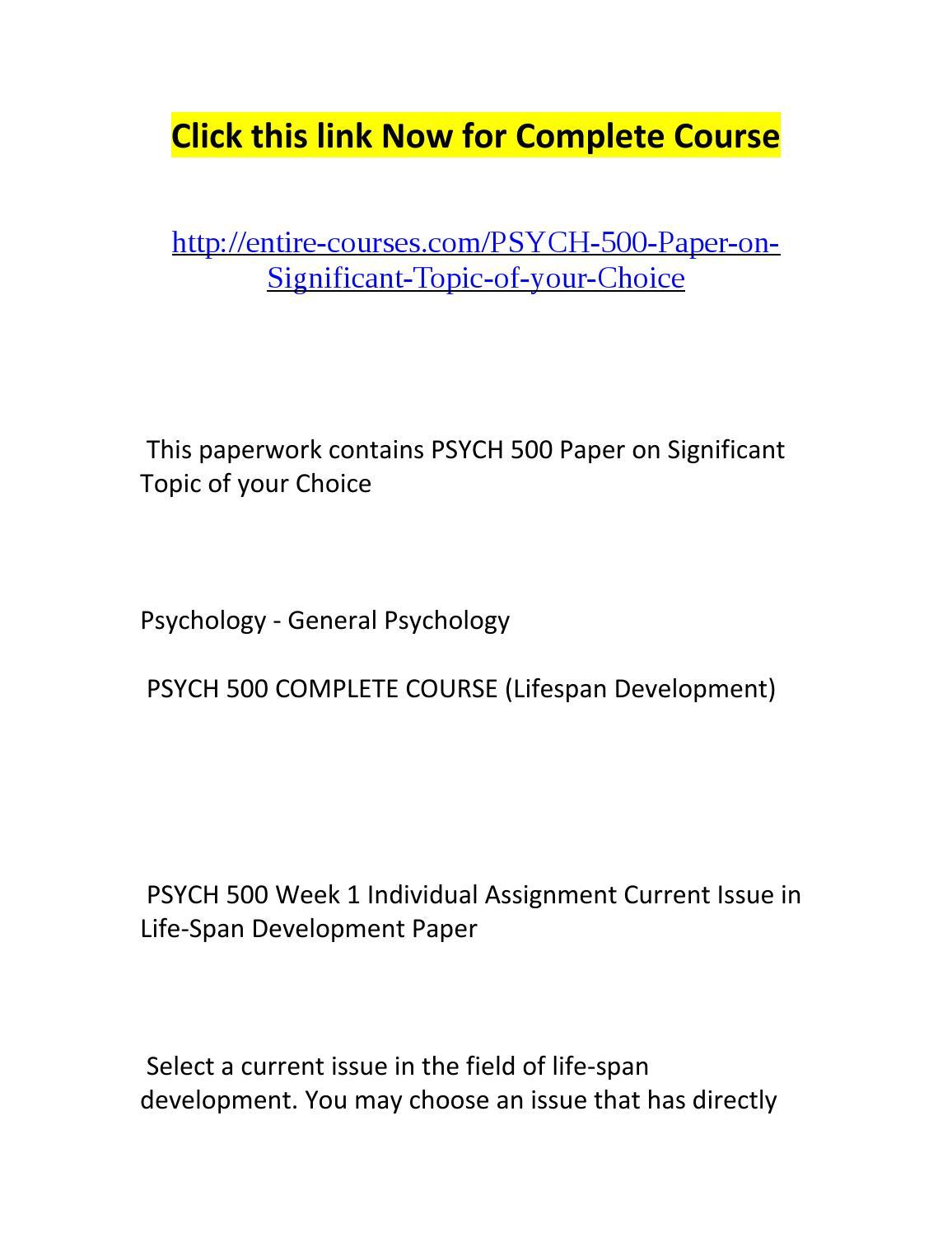 lifespan development paper topics