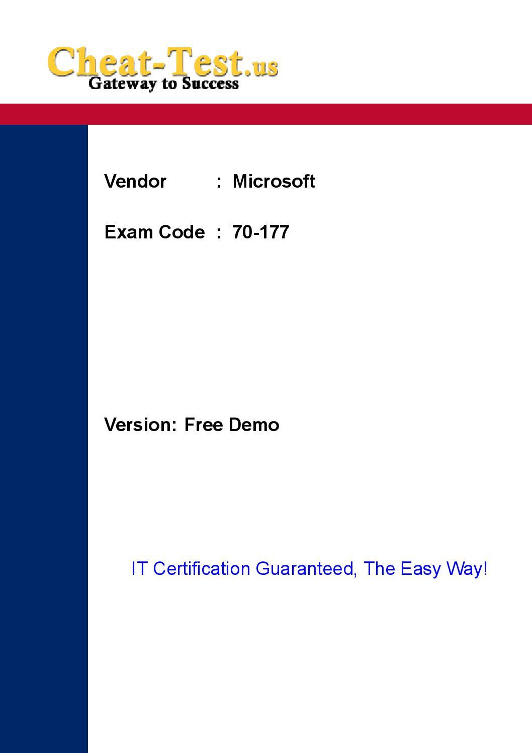 Latest Microsoft 70 177 Certification Exam By Jun Ratz Issuu