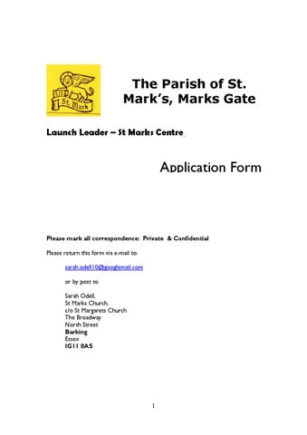 Launch Leader General Application Form Non Gor By St Marks Church