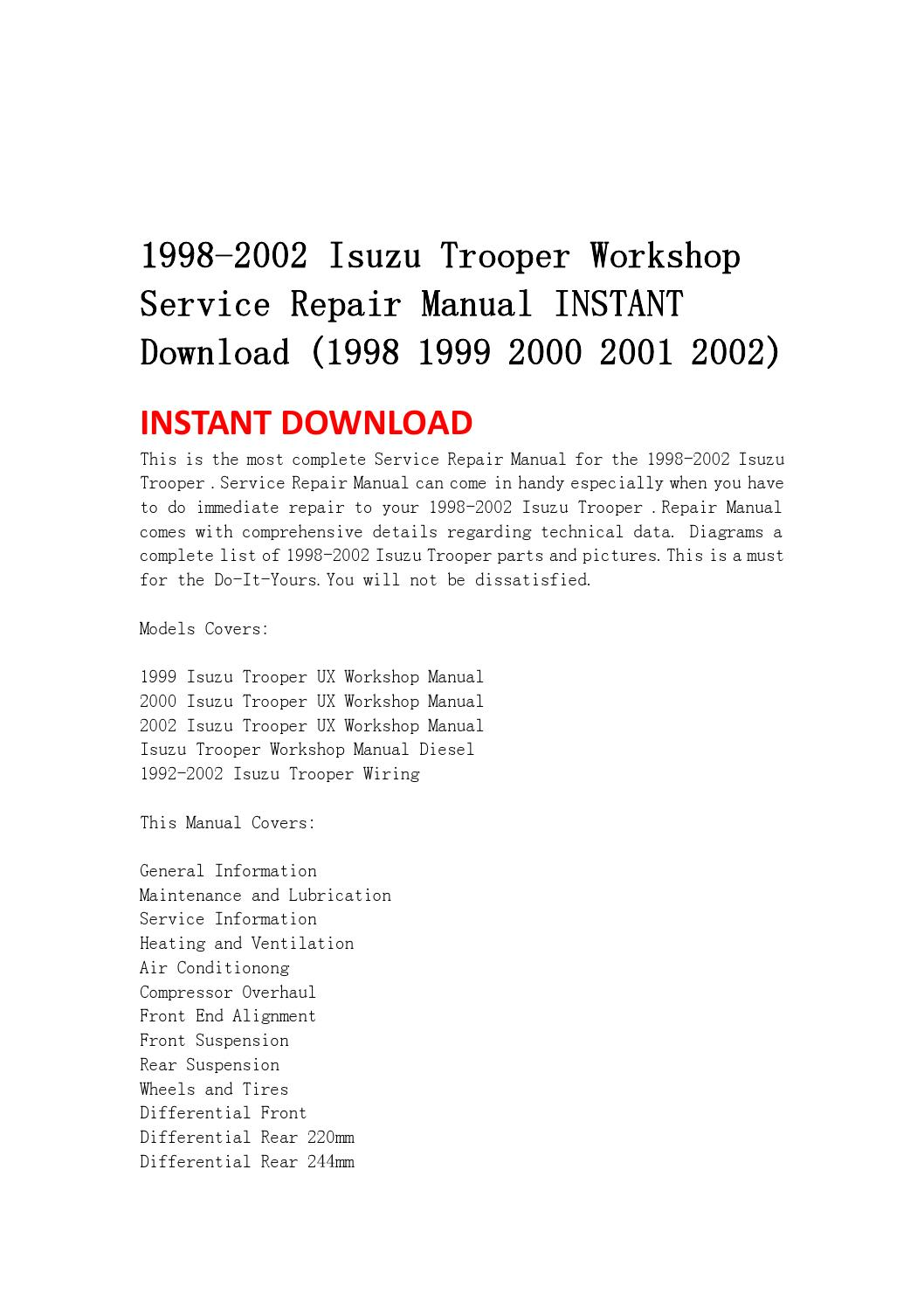 1998 2002 isuzu trooper workshop service repair manual instant download ( 1998 1999 2000 2001 2002) by jnshefmsnef ksefn - issuu