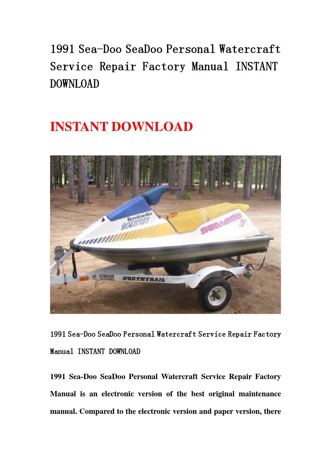 1991 Sea Doo Seadoo Personal Watercraft Service Repair