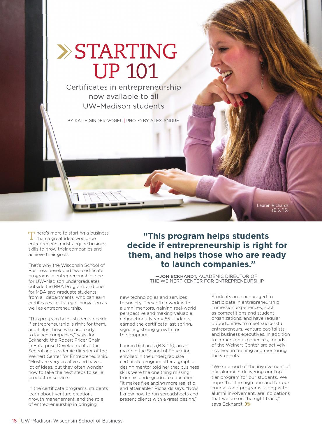 Wisconsin School Of Business Update Magazine Fall 2014 By University