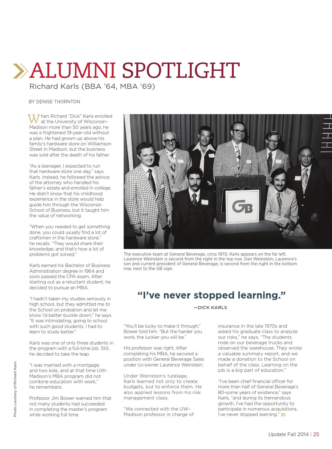 Wisconsin School of Business UPDATE Magazine Fall 2014 by