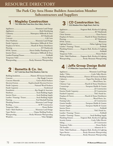 RESOURCE DIRECTORY The Park City Area Home Builders Association Member Subcontractors And Suppliers