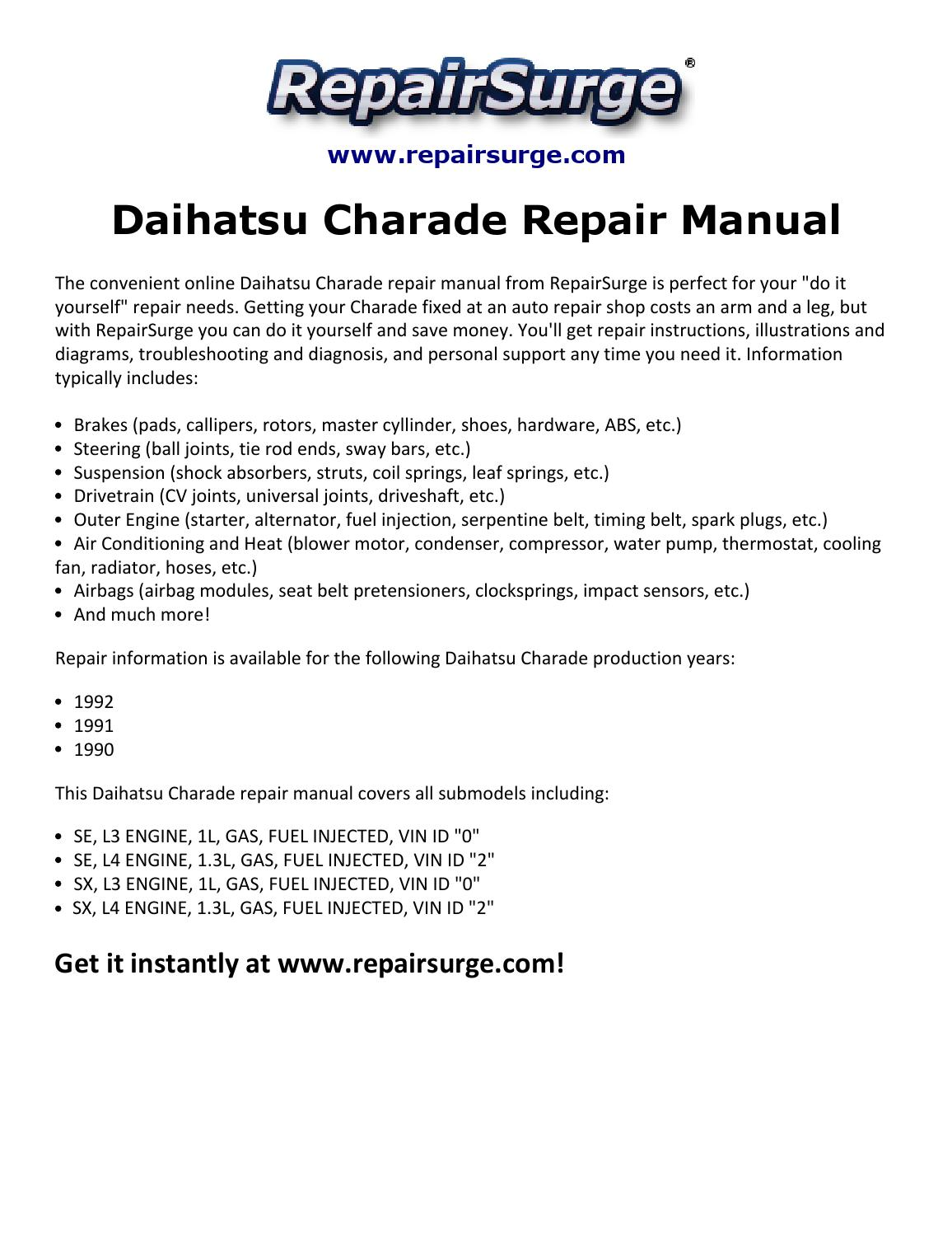 Daihatsu Charade Repair Manual 1990 1992 By Stuart Hemple Issuu Engine Diagrams