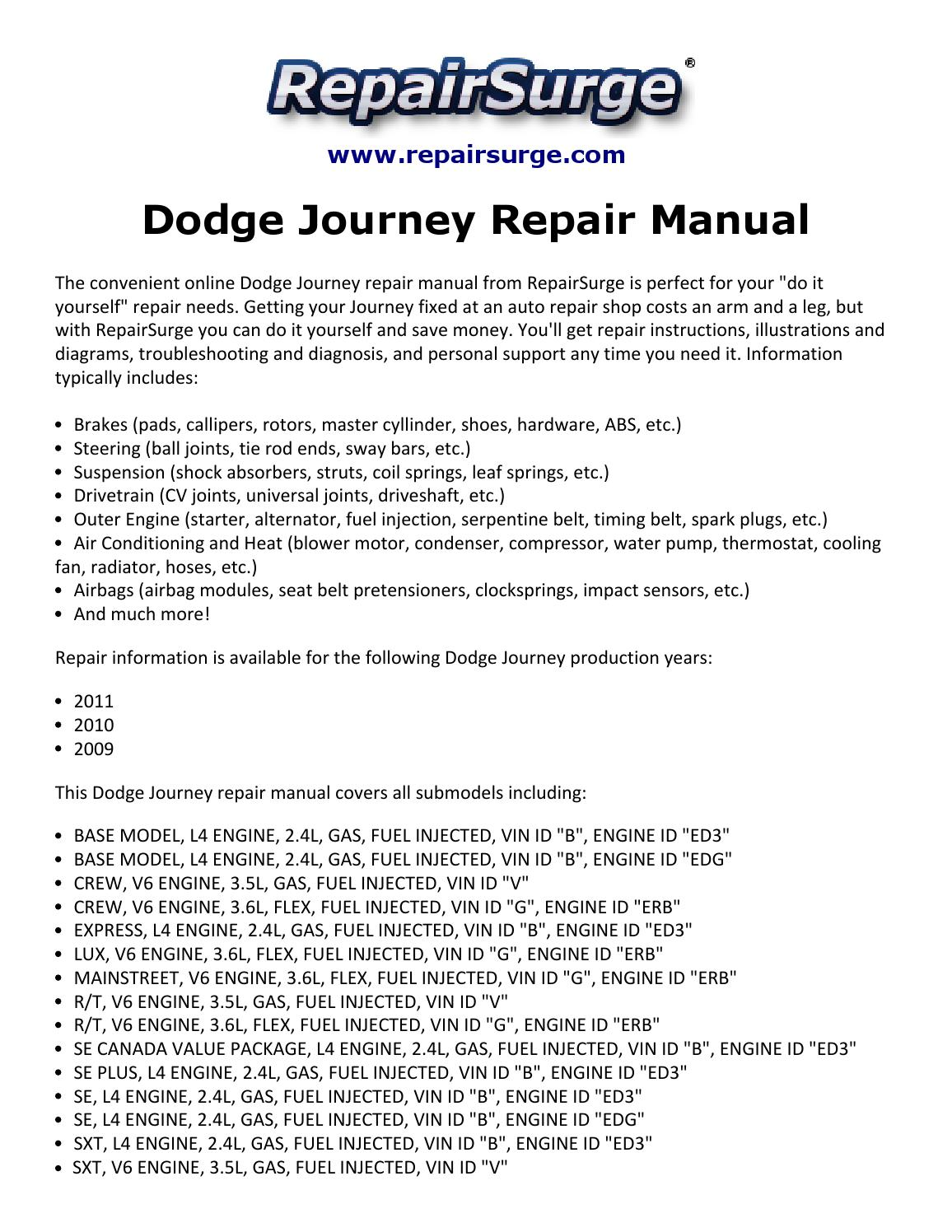 Dodge Journey Repair Manual 2009 2011 By Stuart Hemple Issuu