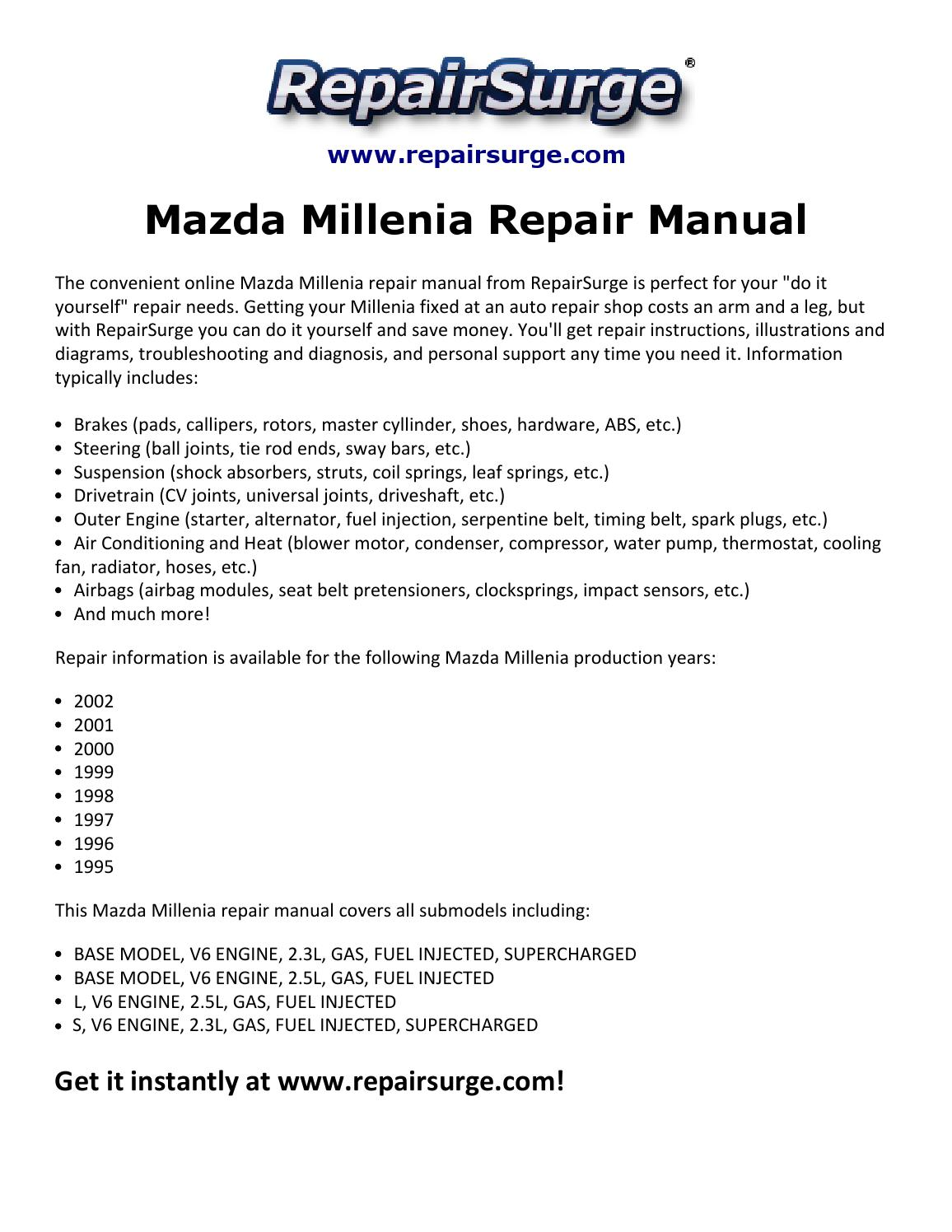 Mazda Millenia Repair Manual 1995 2002 By Smith Collin Issuu 2 5l Engine Diagram