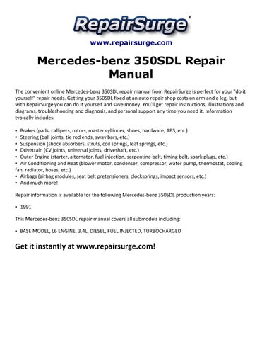 mercedes benz 350sdl repair manual 1991 by smith collin issuu  www repairsurge com mercedes benz 350sdl repair manual