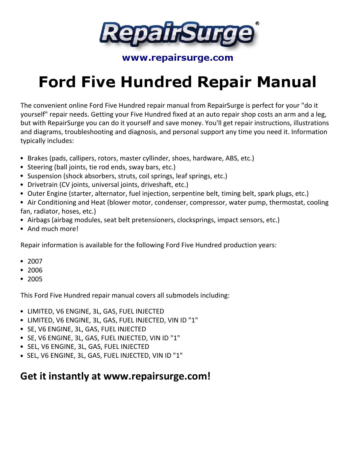 Ford five hundred repair manual 2005 2007 by macy ...