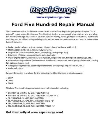 ford five hundred repair manual 2005 2007