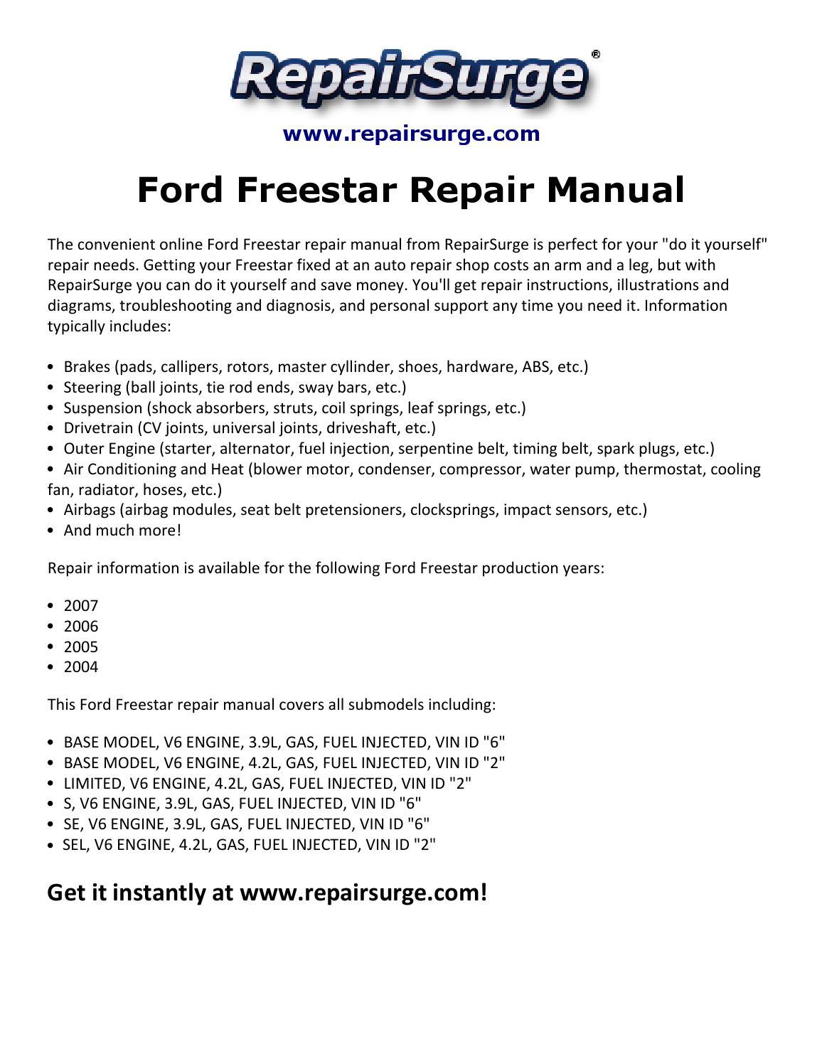 Ford Freestar Repair Manual 2004 2007 By Macy Thomas168 Issuu 4 2 V6 Engine Diagram