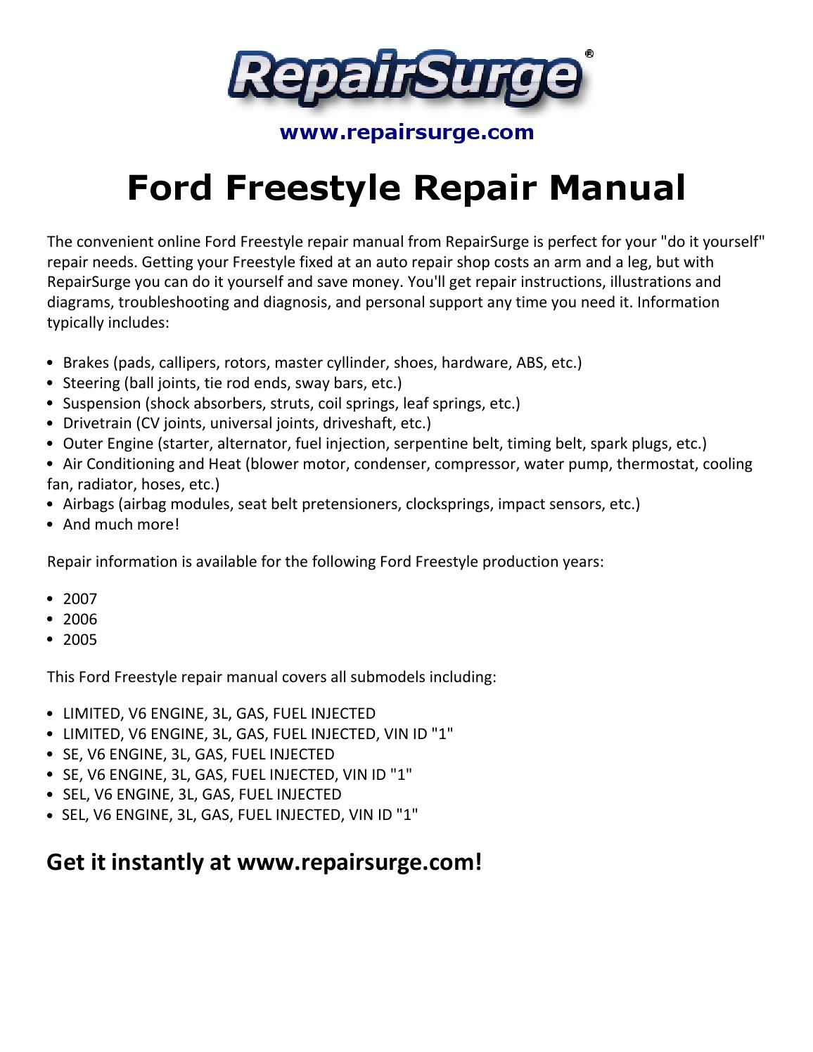 2007 Ford Freestyle Engine Diagram Wiring Library 2004 Freestar Harness Repair Manual 2005 By Macy Thomas168 Issuu
