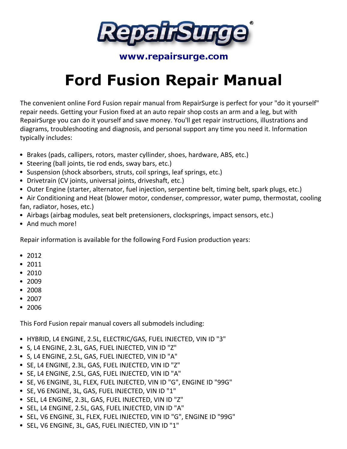 Ford Fusion Repair Manual 2006 2012 By Macy Thomas168