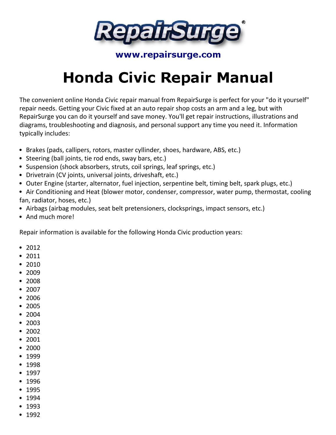 honda civic repair manual 1990 2012 by arrack 555 issuu rh issuu com 1996 Honda  Civic Hatchback 1998 Honda Civic Ex Manual