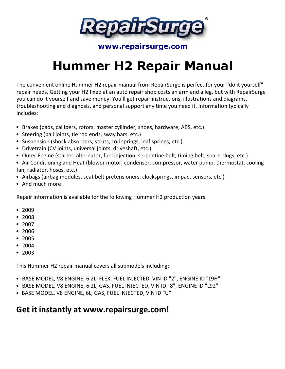 2006 Hummer H2 Belt Diagram Archive Of Automotive Wiring 2005 Repair Manual 2003 2009 By Arrack 555 Issuu Rh Com