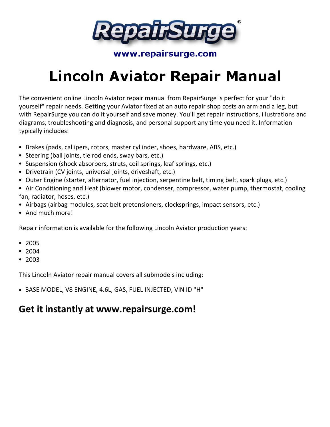 Lincoln aviator repair manual 2003 2005 by kevin green issuu – Lincoln Aviator 2004 Engine Diagram