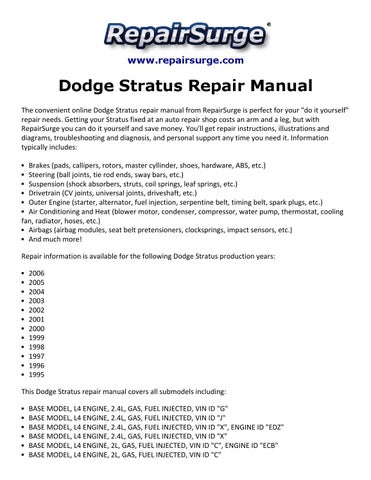 dodge stratus repair manual 1995 2006 by jesse hopkins issuu rh issuu com Diagram of Transmission for 2003 Dodge Stratus SXT 2.4 DOHC Sedan 2003 Dodge Stratus SXT Sedan