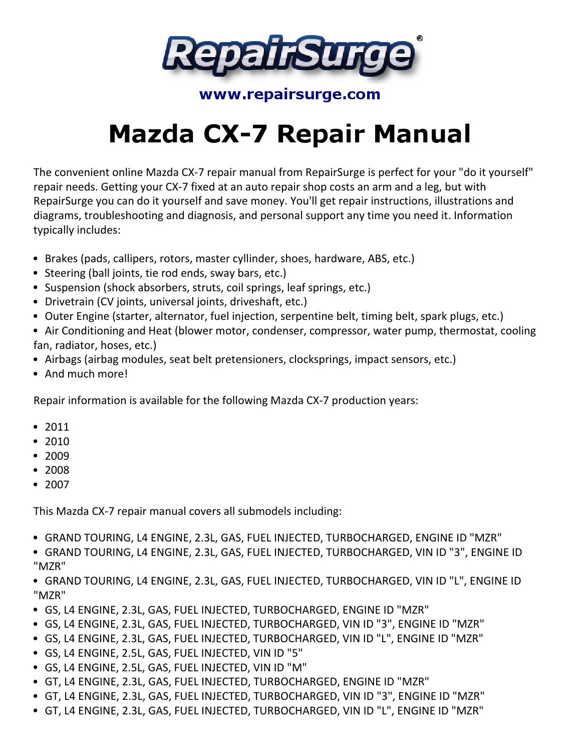 2008 Cx 7 Engine Diagram Wiring Library Speakerwiringdiagramgif Mazda Repair Manual 2007 2011 By Kevin Green Issuu