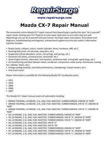 Mazda cx 7 repair manual 2007 2011 by kevin green issuu page 1 publicscrutiny Image collections