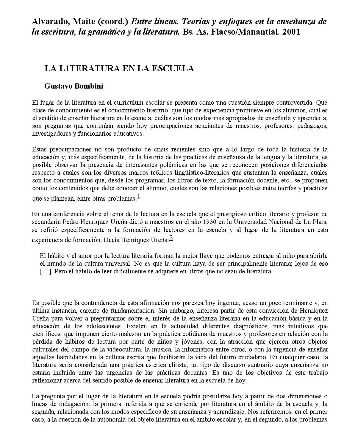 Bombini gustavo la literatura en la escuela (1) by Paula Scars - issuu