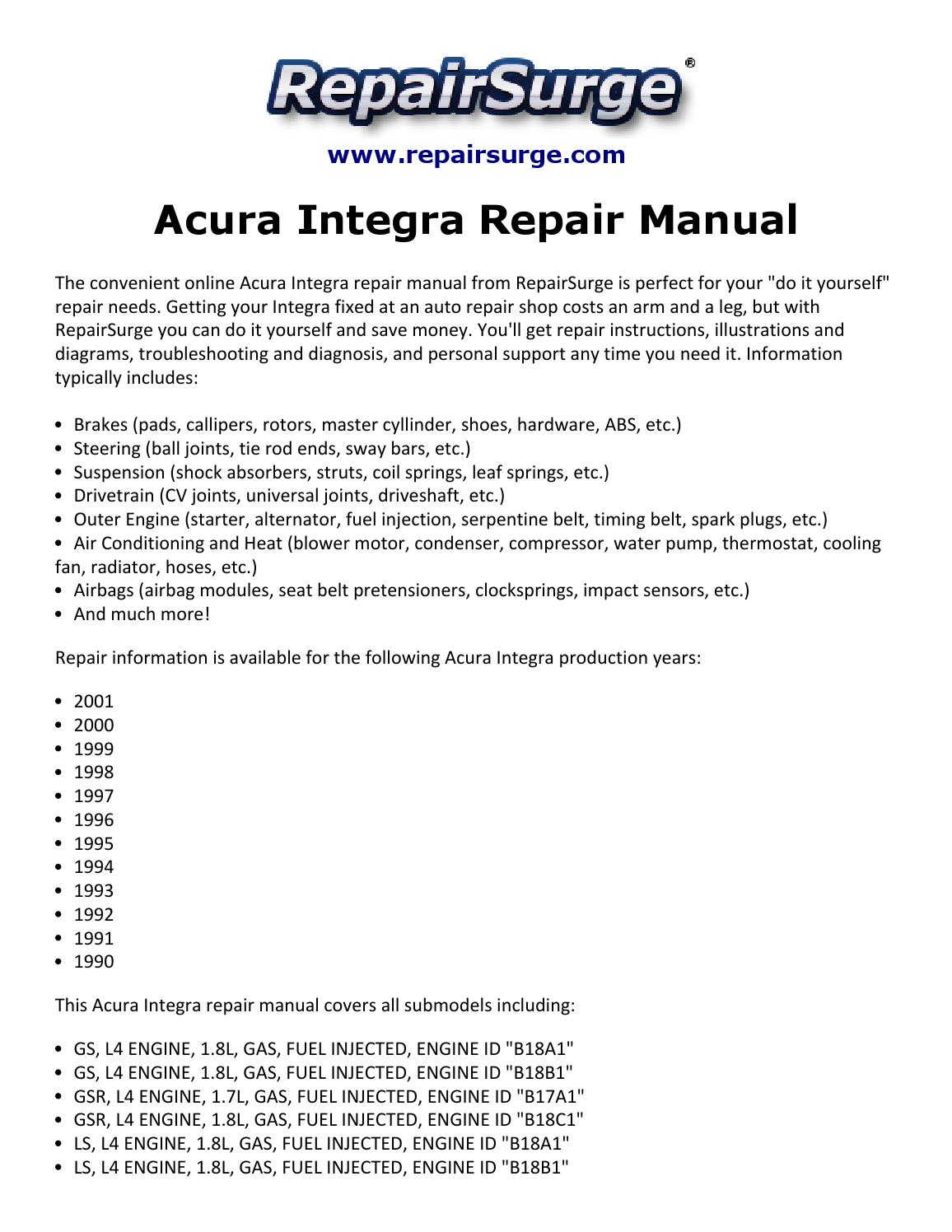Integra Gsr Owners Manual Dc2 Engine Wiring Diagram Array Acura Repair 1990 2001 By Jasper2334 Issuu Rh